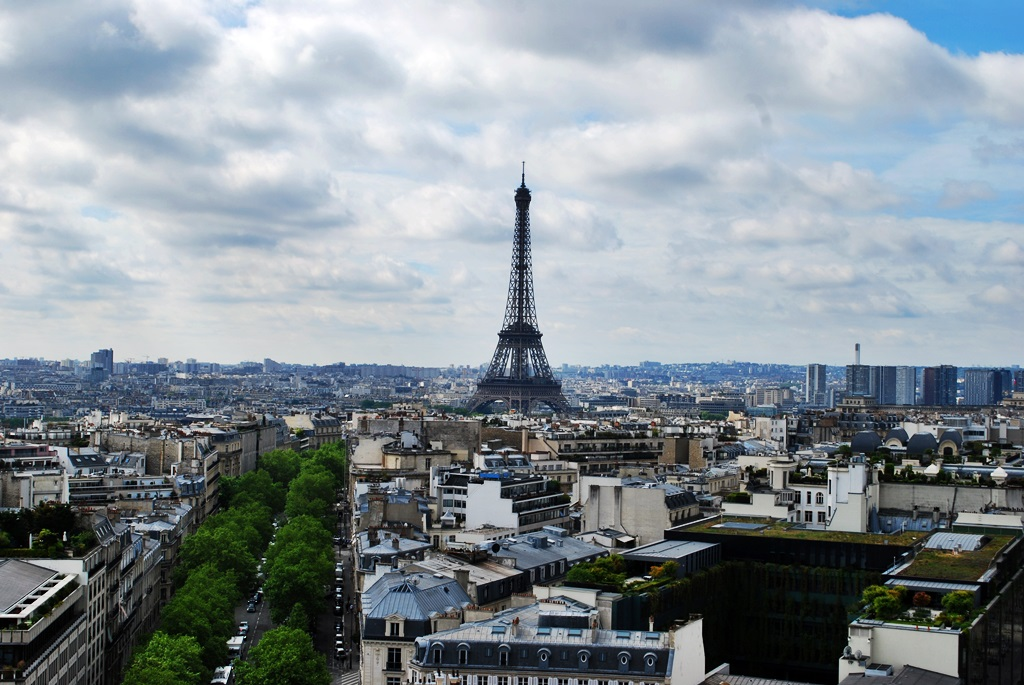 The Eiffel Tower, a view from Arc de Triomphe