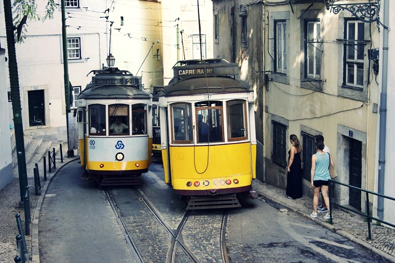 Trams in Alfama