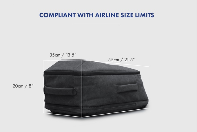 arcido backpack airplane size limits